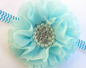 Blue Headband, Baby Headband, Blue Floral headband, Infant Headband, Floral Hairbow, Blue Hair Bow, Flower Girl Hair Piece, Blue Pageant Bow