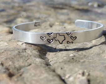 Recycled Aluminum Cuff - Texas Love