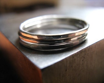 Stackable Rings in Sterling Silver Set of Three Stacking Rings