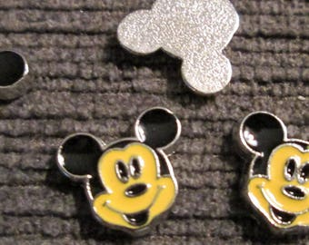 Lot of 10 Mickey Mouse Floating Locket Charms Silver tone