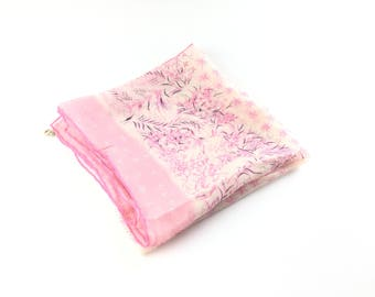 1950s scarf pink vintage scarf silk scarf Pink silk scarf atomic scarf vintage scarf, 50s scarf, Square scarf, floral scarf,