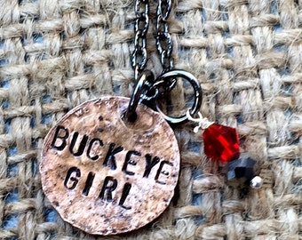 Buckeye Girl Penny Necklace, Ohio Jewelry, OSU College Jewelry, Ohio State Necklace, Buckeye Jewelry, Gift Idea for OSU Student,OSU Jewelry
