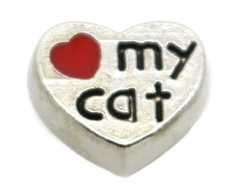 Love My Cat Floating Locket Charm Living Memory Lockets Jewelry Making Supplies - 61C