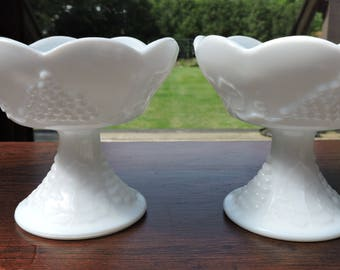 Pair of Colony Harvest Milk Glass Candle Holders - Indiana Glass