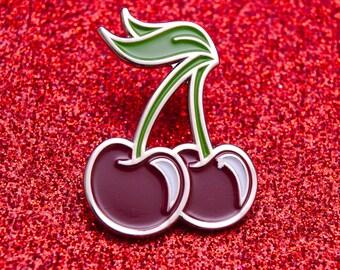 Cherry Enamel Pin | Cherries Pin Badge | Cute Pin Badge | Fruit Pin Badge |  Soft Enamel Badge