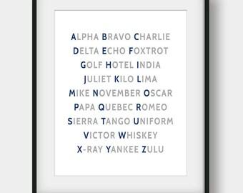60% OFF NATO Phonetic Alphabet, Aviation Art, Aviation Decor, Pilot Gift, Airplane Wall Art, Airplane Decor, Navy Grey Art, Boys Room Decor