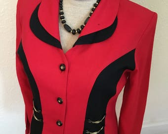 80's Vintage Red Blazer with Black trim, gold chain accents.
