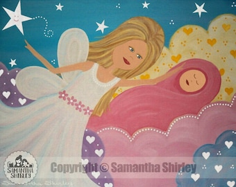 Kids Art Print of Mother Baby Angels Painting - Girls Room Kid Wall Art Prints - Baby Nursery, Child & Teen Decor - MADE in HEAVEN by TLW