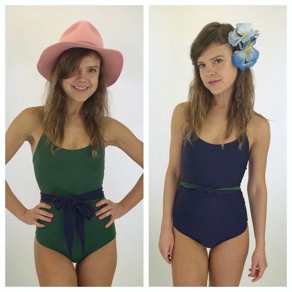 Classic hunter green and navy reversible one piece with removeable tie