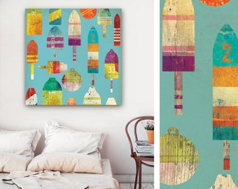 Lobster buoys nautical art graphic colorful art on gallery wrapped canvas by Stephen Fowler