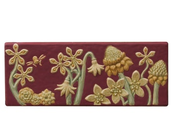 """Flowers & Bees Ceramic Art Tile in Raspberry Glaze Color (6 1/2"""" high x 15 1/2"""" wide)"""