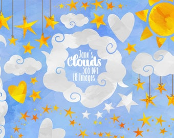 Watercolor Stars and Clouds Clipart - Star Borders Download - Instant Download - Watercolor Clouds and Hanging Stars