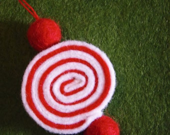 One Peppermint Candy Ornament, Christmas, felt, red and white, mint, disk, Christmas tree