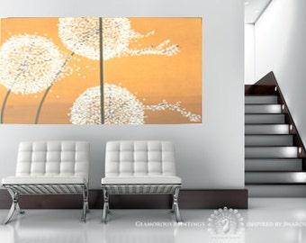 Swarovski® & glitter DANDELIONS abstract art. Sunny yellow abstract painting. Dandelions painting. Yellow painting dandelion decor Lydia Gee