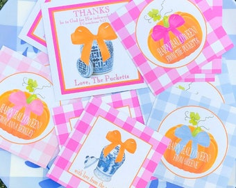 Pink and orange Fall gift tags/stickers