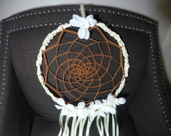 yellow lace and brown crochet DC