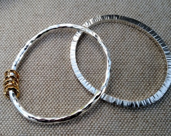 Hammered Stripes Bangle Bracelet