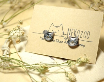 Tabby Cat cute surgical steel Earrings, tiny jewelry, handmade items, Unique Gift