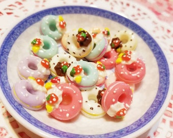 Donut cabochons - miniature dollhouse cupcakes - resin cabochons - Decoden Cabochons - 4pcs