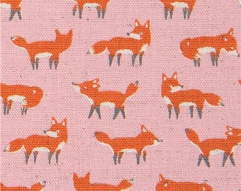 216407 pink Canvas fabric with small fox animal by Kokka Japan