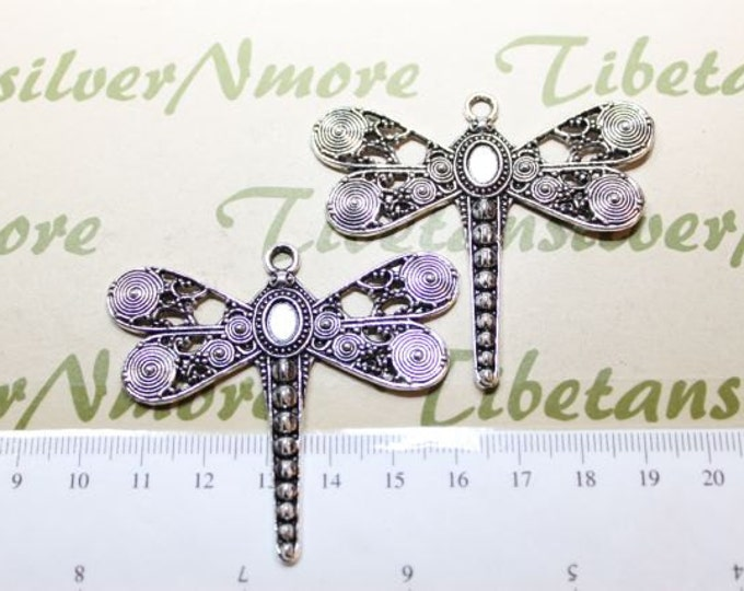 2 pcs per pack 56x50mm Large Dragonfly Pendant Antique Silver Finish Lead free Pewter