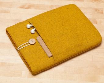 iPad 12.9 sleeve, iPad Pro 12.9 case, 12.9 inch iPad Pro case,  iPad Pro cover - Flannel mustard