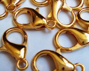 10 Golden 14x7mm metal snap fasteners