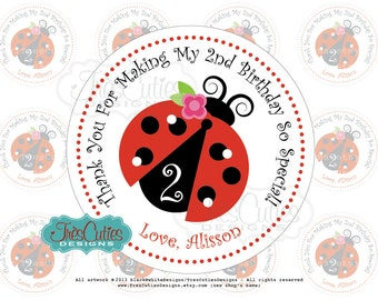 Personalized Printable PDF - LadyBug Thank You Birthday Party 2inches Circles For Gift Tags, Favor Tags, Cupcake Toppers -  Print Yourself