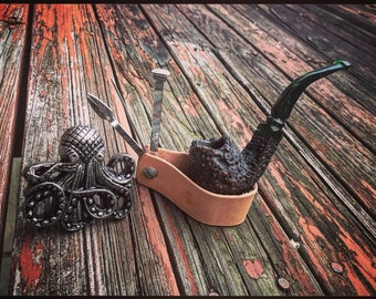 Leather Pipe Stand/Tool Combo - Natural  Veg Tan