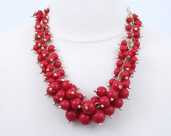 Red Clustered Beaded Necklace Primary Red Statement Necklace Beads Chunky Necklace Brides Maids Gift Holiday Gift FREE Matching Earrings