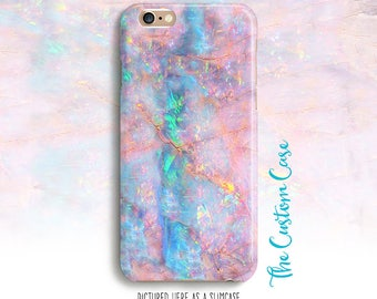 Iphone 8 Case, Pink Opal Phone Case, Soft Pink and Turquoise Opal Stone Phone Case, Faux Opal, Pastel Stone Phone Case, Aqua and Pink Case