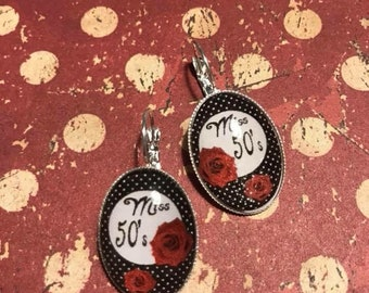 Oval lever back earrings