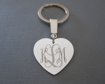 Personalized Engraved Monogram Heart Keychain in 3 Colors & 3 Pendant Sizes - Custom Initial Monogram Keychain - Monogrammed Gifts