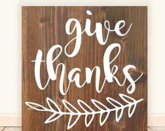 """Give Thanks Vinyl Wood Sign 12""""x12"""". Fall Decor, Give Thanks sign, Thanksgiving decor, fall decorations, fall quote sign, Farmhouse sign"""
