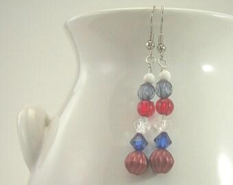 6 Bead Patriotic Earrings - Hand-made