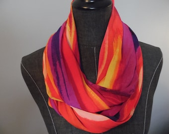 ITY Fire Red Multi Jersey Knit.Infinity Scarf Deep Purple.Red.Yellow/Gold.Lavender.Orange.Spring.Summer.Office.Weekend.Product ID# SC0048