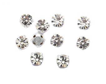 10 clear AB faceted Chaton 8 mm in metal base