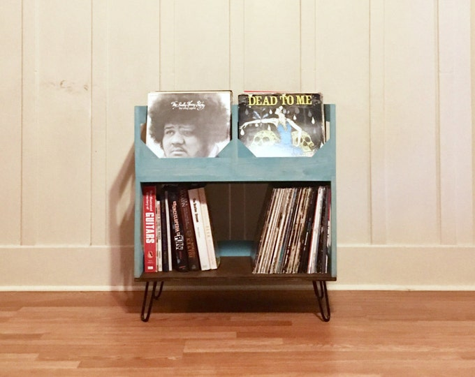 "Featured listing image: Deluxe Vinyl Record Storage on 6"" Hairpin Legs // Displays and Protects Your Collection of Over 200 12"" vinyl records"