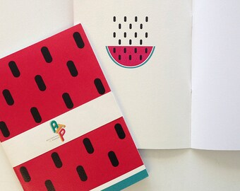 Watermelon A5 Notebook: Blank or Lined
