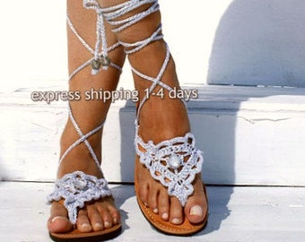 "Wedding sandals / Leather sandals/ Gladiator sandals/ Boho sandals/ Crocheted sandals/ Bridal sandals/ Wedding shoes/ ""SILVER SAND """