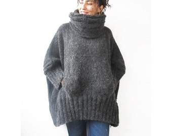 Hand Knitted Sweater, Accordion Hood, Plus Size Jumper, Over Size Sweater, Hand Knit Jumper, Woman Jumper, Hoodie Sweater, Sweater,