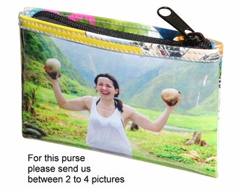 LARGE custom coin purse made using pictures from you - FREE SHIPPING - Customized wallet gift for mother sister initials picture gift gifts