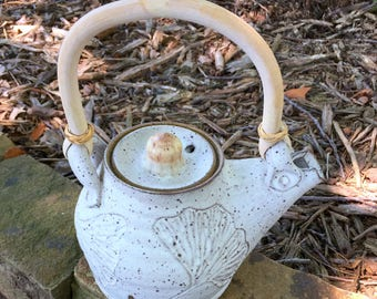 Speckled Ginkgo Leaf Teapot Handmade Pottery by Daisy Friesen