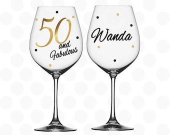 Milestone birthday gift 50th birthday - 50 and Fabulous wine glass name included - 50th birthday gift - 50th birthday gift for her