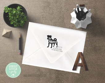 Pug return address stamp, Self-inking or wood stamp, Pug theme Large Custom Address Stamp, New Home Gift style 302