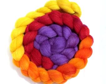 Hand Dyed Merino/Tussah Silk Top 4.4 oz - Carnival Time