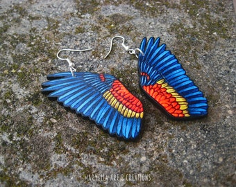 Scarlet Macaw wings Earrings  - wood handmade jewelry