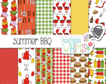 "Summer Digital Paper - ""Summer BBQ"" - barbeque scrapbook paper - hand drawn patterns - yellow, red & green - commercial use"