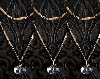 Herkimer Diamond Stone Pendant Necklace, Gold Brass Chain, Vintage Brass Chain, Clear Stone, Quartz, Simple, Minimalist, Double Strand