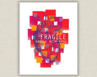 Heart Art, anatomical heart, modern Valentine, heart print, Fragile Heart, medical office decor, bright colors, medical student, doctor gift